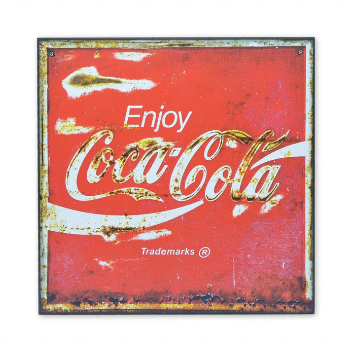 Medium Wood Block Print - Coca-Cola Logo Red
