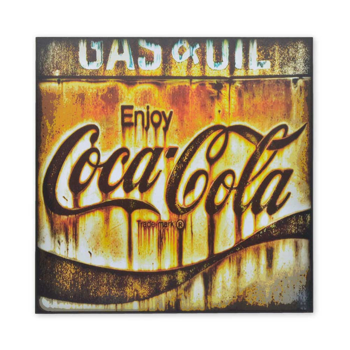 Medium Wood Block Print - Coca-Cola Logo Rusted