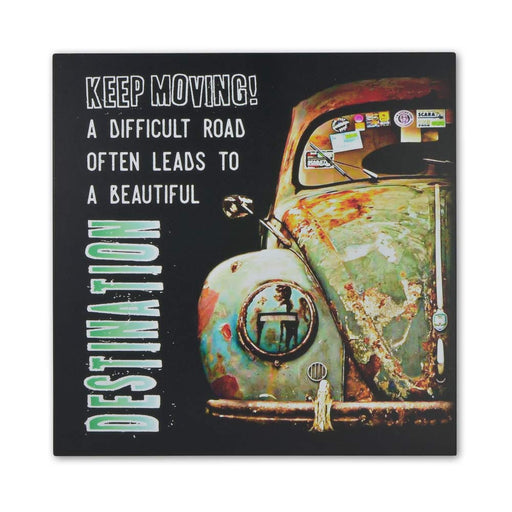 Medium Wood Block Print - VW Beetle Difficult Road Beautiful Destination | That Bloke