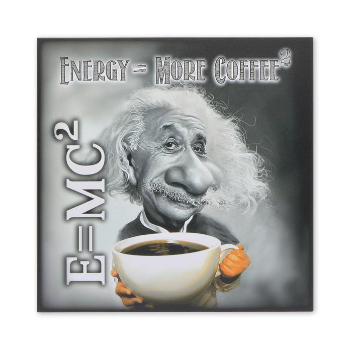Medium Wood Block Print - Einstein Energy Equals More Coffee | That Bloke