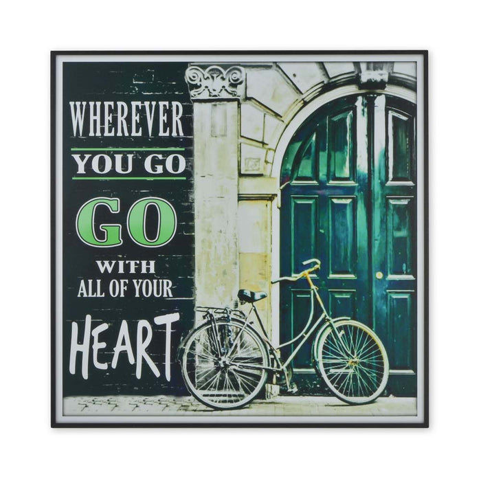Medium Wood Block Print Go With All Of Your Heart Cycling
