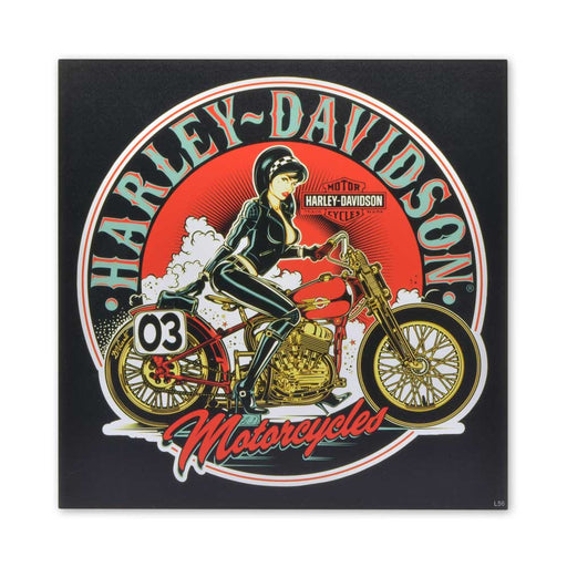 Harley Davidson Motorcycles Wood Block Print Girl In Leather