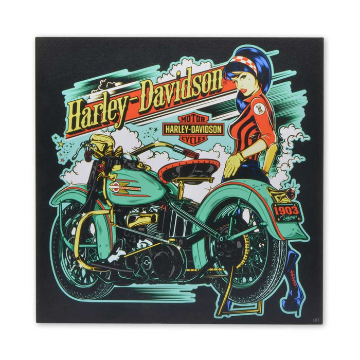 Harley Davidson Motorcycles Wood Block Print Street Racing Girl