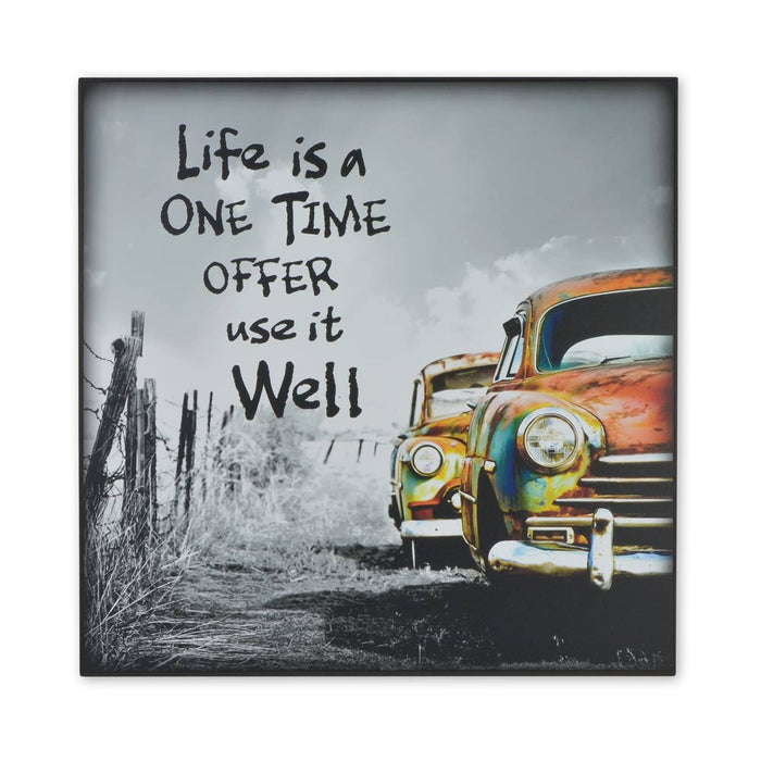 Medium Wood Block Print - Life Is A One Time Offer Vintage Car | That Bloke