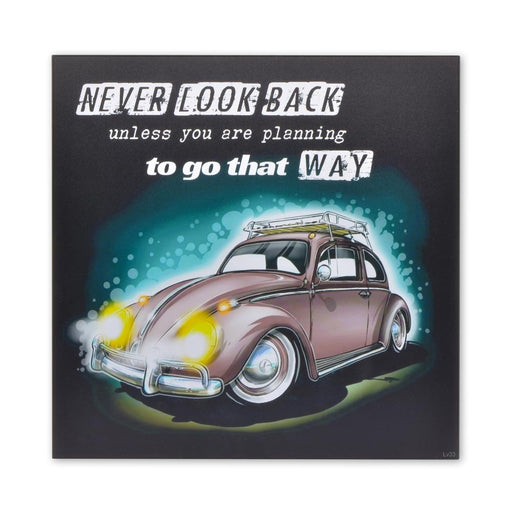 VW Beetle Wood Block Print Volkswagen Never Look Back