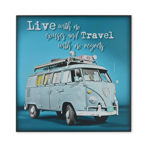 Medium Wood Block Print - VW Kombi Travel With No Regrets | That Bloke