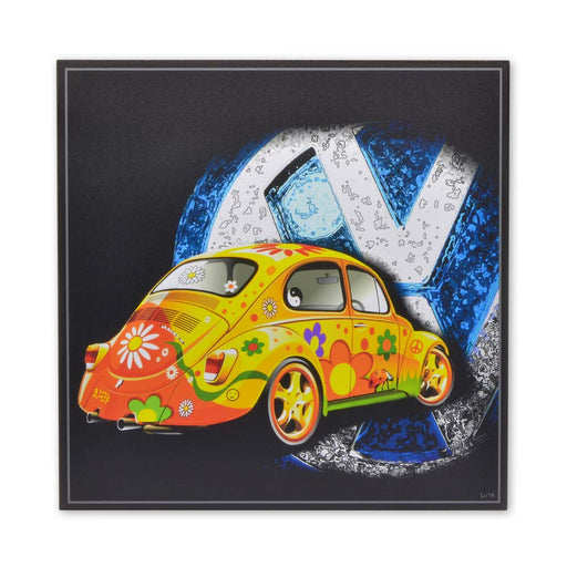 VW Beetle Hippie Movement Design Wood Block Print
