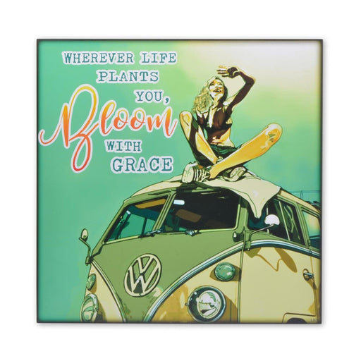 VW Kombi Wood Block Print Wherever Life Plants You Bloom With Grace