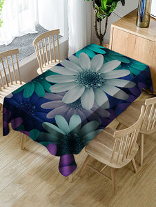 Colorful Flowers Print Fabric Waterproof Tablecloth