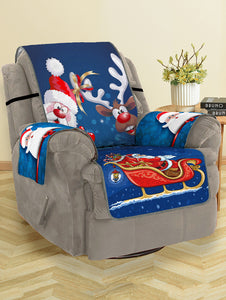Christmas Santa Claus Elk Pattern Couch Cover