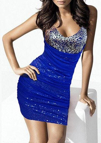 V-Neck Sleeveless Sequined Bodycon Dress For Women
