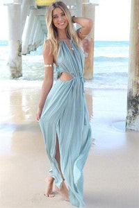 Spaghetti Strap Solid Color Tie-Up Openwork Sleeveless Maxi Dress