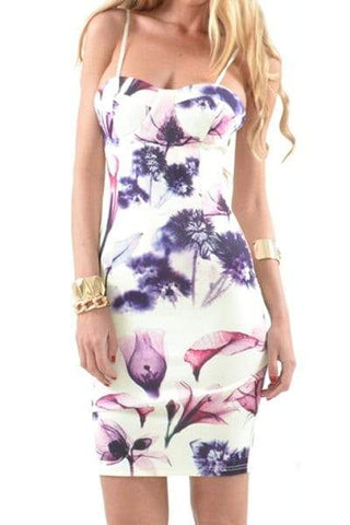 Spaghetti Strap Sleeveless Floral Print Furcal Dress
