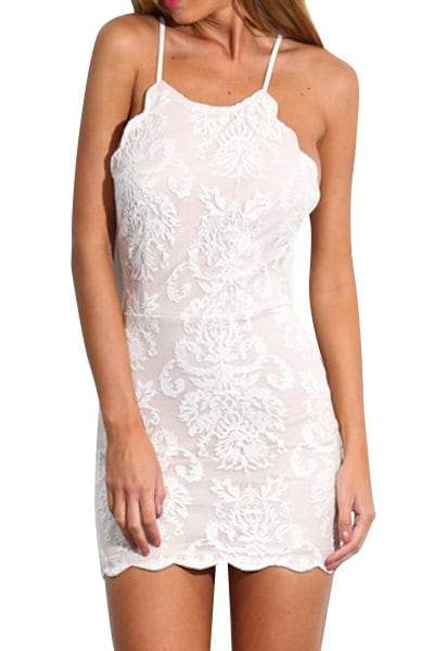 Spaghetti Strap Backless Lace Embroidered Bodycon Dress
