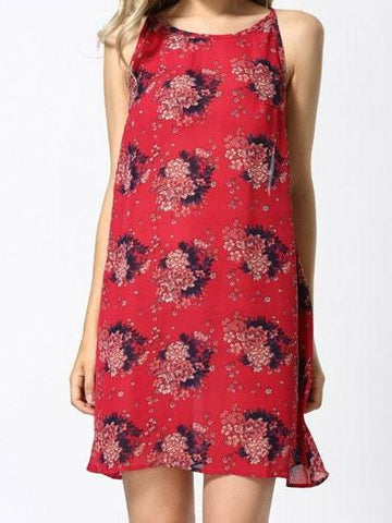 Round Neck Sleeveless Floral Print Chiffon Dress