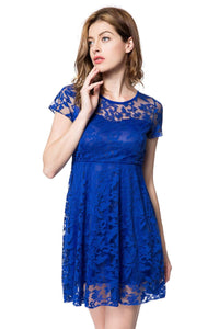 Round Neck Short Sleeve Solid Color Lace Dress