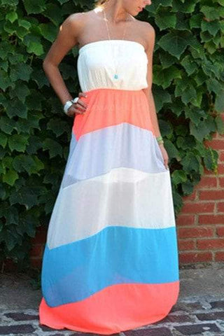 Strapless Stripes Color Block Chiffon Maxi Dress