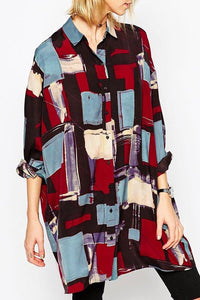 Contemporary Print Oversize Blouse