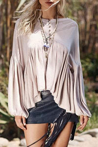Round Neck Long Sleeve Asymmetrical Draped Blouse