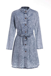 Stylish Long Sleeve Stand-Up Collar Self-Tie Denim Dress