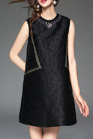 Embroidered Beading A-Line Dress
