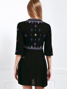 Plunging Neck Half Sleeve Embroidered Drawstring Design Dress