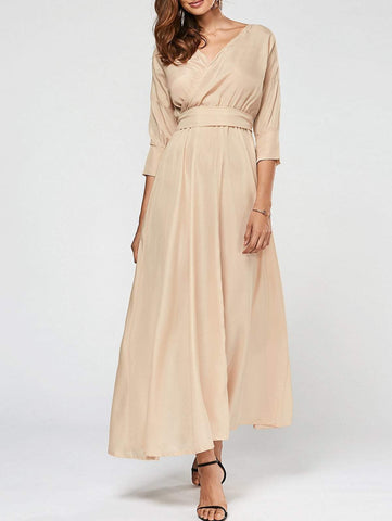 High Waist Surplice Maxi Dress