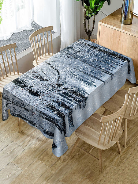 Christmas Snow Forest Print Fabric Waterproof Table Cloth