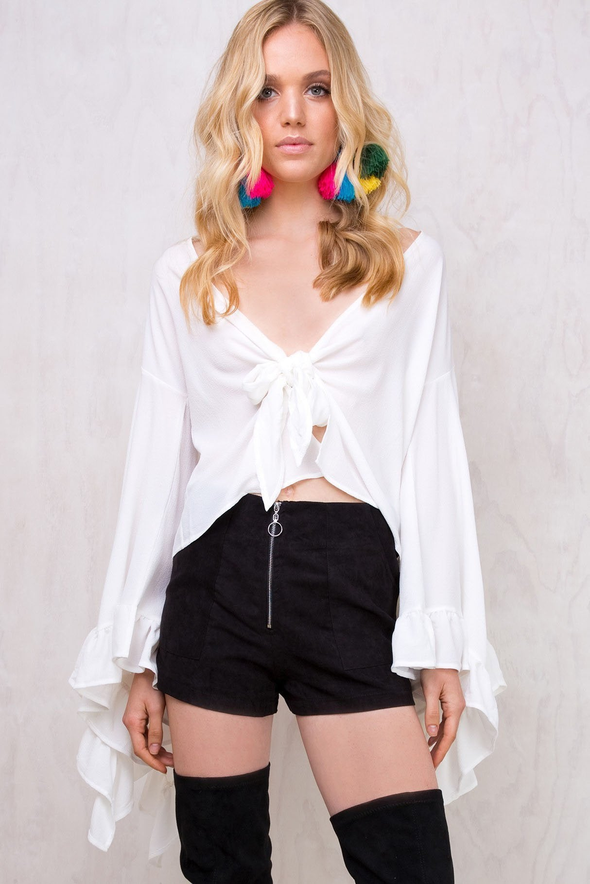 Plain Batwing Sleeve Open-Front Blouse