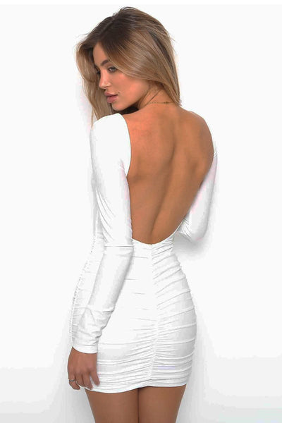 Chic Pleated Backless Club Dress