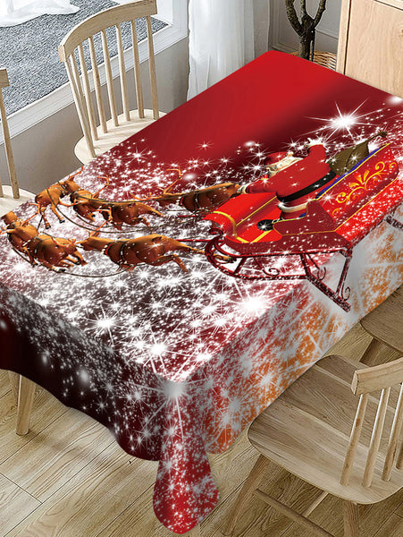 Christmas Sleigh Elk Print Fabric Waterproof Table Cloth