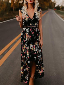 V-Neck Lace Splicing Sleeveless High Split Floral Maxi Dress