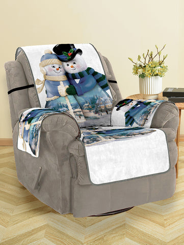 Christmas Snowman Couple Pattern Couch Cover