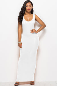Soft Candy Color Sleeveless Maxi Dress