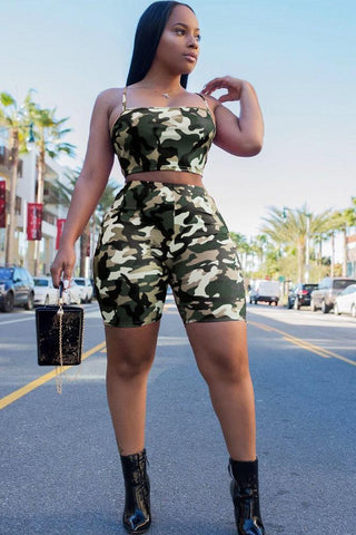Sexy Camouflage Slimming 2-Piece Outfit