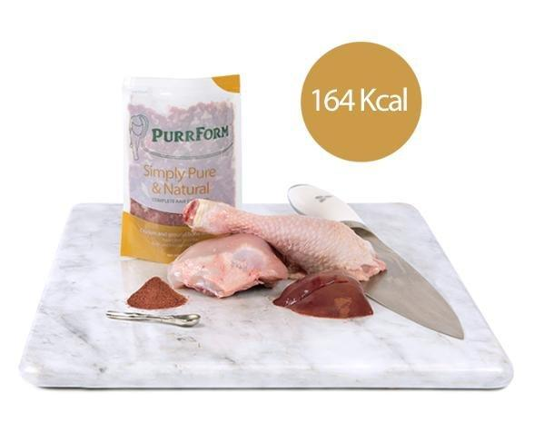 Purrform Cat Food Chicken and ground bone with liver 6 x 70g complete pouches Chicken and ground bone with liver 6 x 70g complete pouches