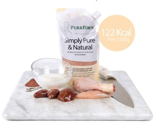 Purrform Cat Food Complete weaning paste for kittens. Chicken with ground bone, offal & pasteurised whole goats' milk 6 x 70G Pouches Complete weaning paste for kittens. Chicken with ground bone, offal & pasteurised whole goats' milk 6 x 70G Pouchs