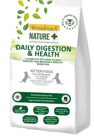 Broadreach Cat Food Daily Digestion and Health Kitten Food 75% Chicken & Salmon 1.2KG Daily Digestion and Health Kitten Food 75% Chicken & Salmon 1.2KG