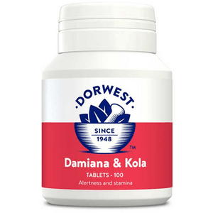 Dorwest Supplements Damiana & Kola Tablets For Dogs And Cats 100 Tablets 5 060183510265 DK100