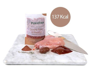 Purrform Cat Food Farmed rabbit with ground bone 6 x 70g complete pouches Farmed rabbit with ground bone and ox heart 6 x 70g complete pouches