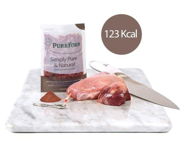 Purrform Cat Food Farmed rabbit with ground bone and ox heart 6 x 70g complete pouches Farmed rabbit with ground bone and ox heart 6 x 70g complete pouches