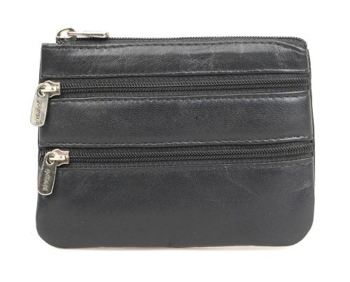 Leather Triple Zip Coin Purse 0-328