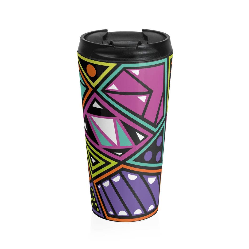 Geometric Pattern Stainless Steel Travel Mug