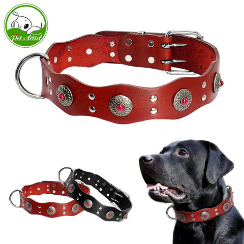 Black/Red Genuine Leather Collar