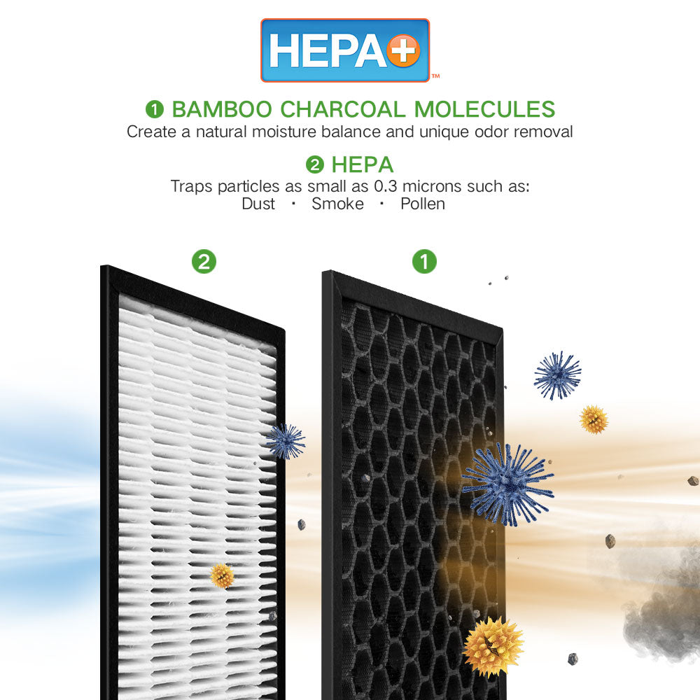 HunterAirPurifier Hunter HEPA+ Air Purifier with ViRo-Silver Technology HT1701 - Black/Black