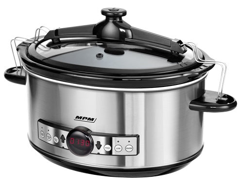 Slow cooker, display digital, 6,5 litri, otel inoxidabil, 3 moduri, 320 W, MPM MWO-01M