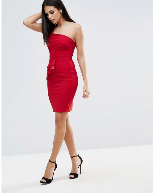 Little Mistress Red One Shoulder Pleat Dress