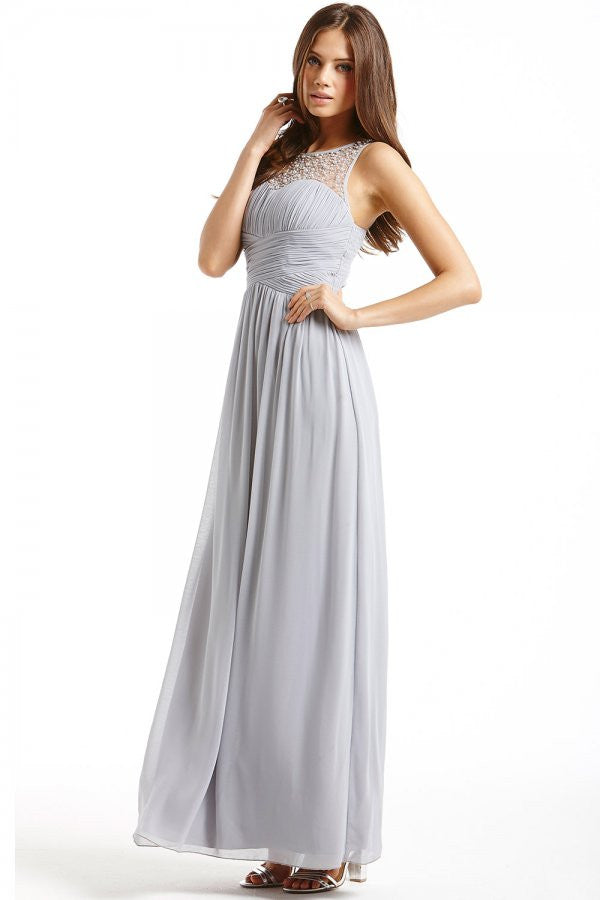 Little Mistress Grey Embellished Detail Maxi Dress - Glitzy Angel