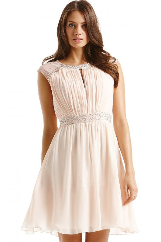 Little Mistress Embellished Open Back Fit and Flare Dress - Glitzy Angel