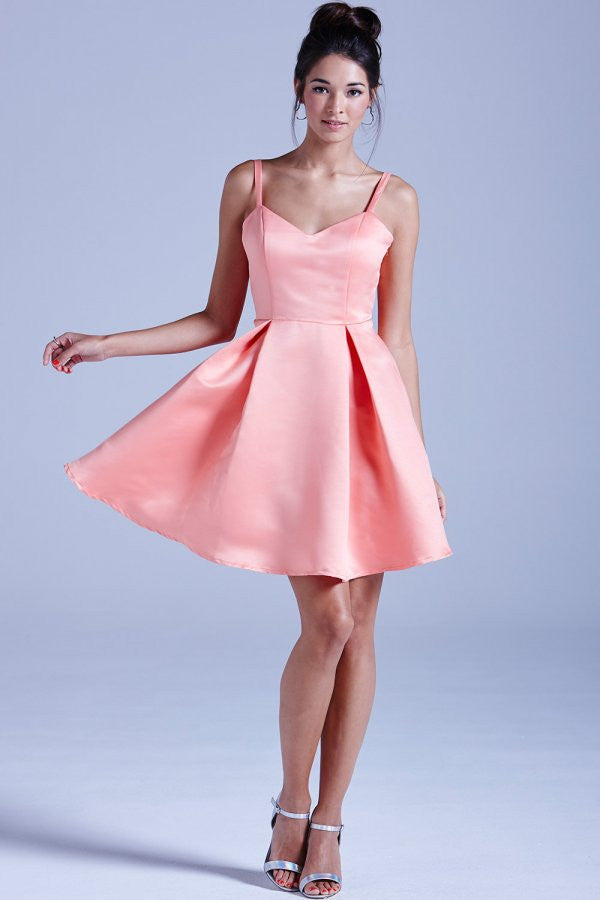 GIRLS ON FILM CORAL STRUCTURED BOW BACK PROM DRESS - Glitzy Angel